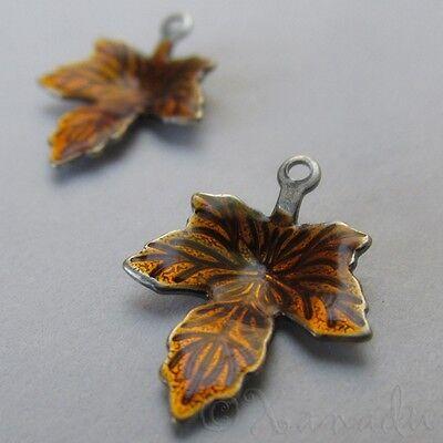Auburn Maple Leaf Wholesale Autumn Enamel Charm Pendants C6373 - 5, 10, 20PCs