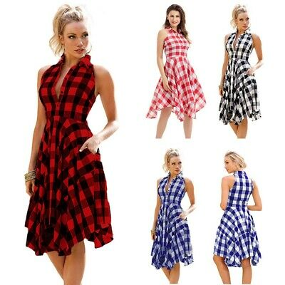 Women Sleeveless Plaid Check Tank Dress Ladies Summer Beach Party Sundress US](Plaid Party Dresses)