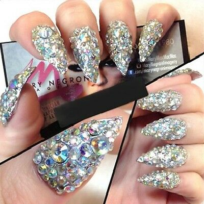 3D Nail Art Tips Gem 400Pcs Rhinestone Crystal Glitter Decoration 4 Styles Diy
