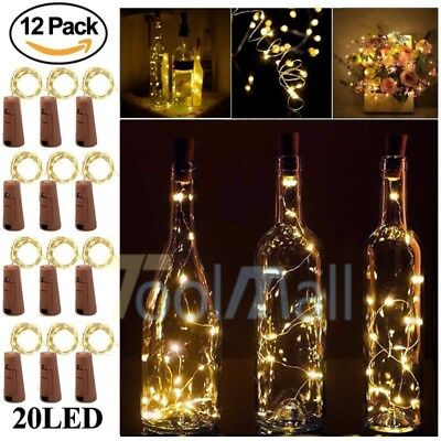 (20 LED Wine Bottle Cork Shape Lights Night Fairy String Light Lamp Xmas Party)