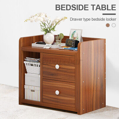 Nightstand Bedside End Table Bedroom Side Stand Cabinet Storage With 2 Drawers