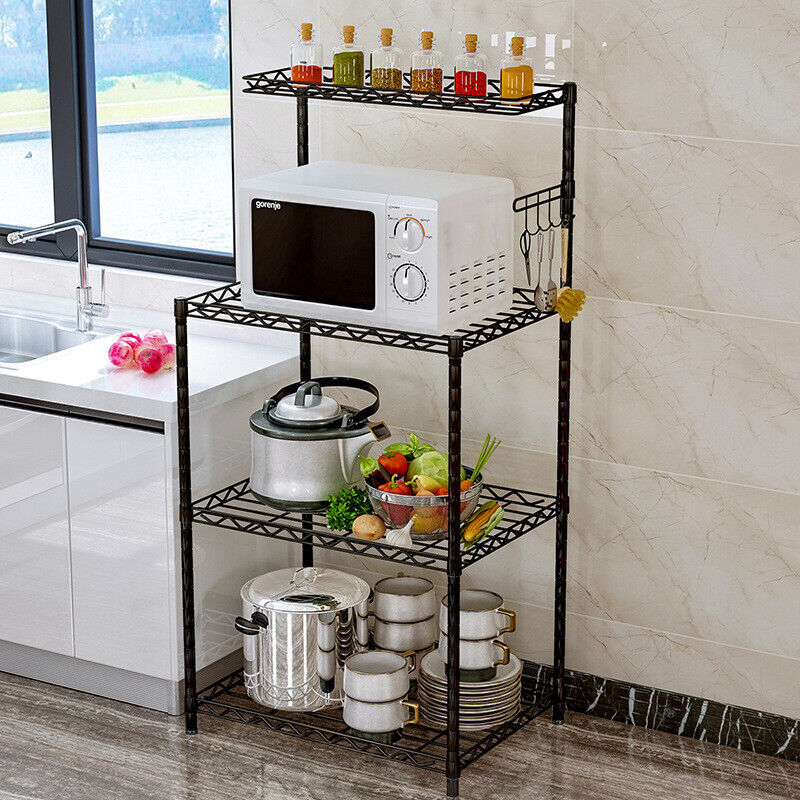 4 Tier Kitchen Bakers Rack Microwave Oven Stand Storage Cart