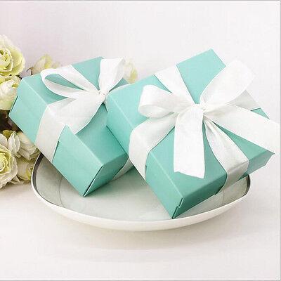 10Pcs Blue Square Ribbon Gift Box Candy Boxes Wedding Party Anniversary Decor ()