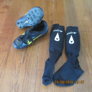 Youth soccer cleats & Shin pads
