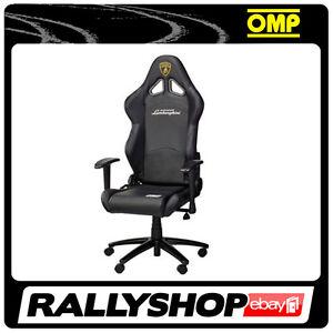 Omp lamborghini chair office black faux leather ebay for Sedia omp