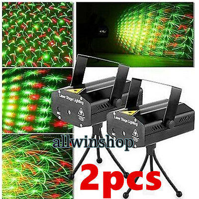 HOT! 2x Mini Projector DJ Disco LED Light Stage R&G Party Show Lighting Laser US