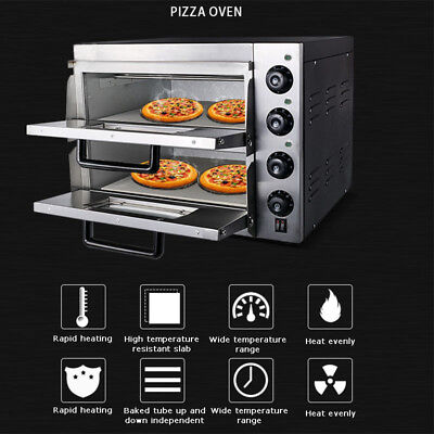 Pizza Bread Making Machines 3kw 110v Commercial Double Electric Pizza Oven