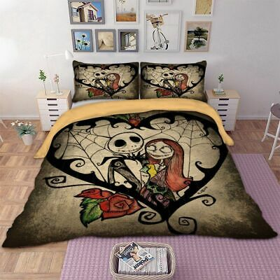 3D The Nightmare Before Christmas Jack Sally Comforter Cover Kids Bedding Set ()