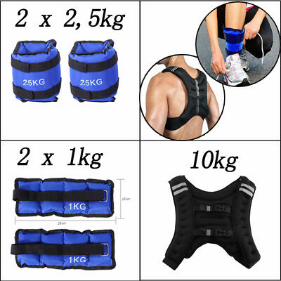 2/5kg Fußgelenkgewichte Gewichtsmanschette+10kg Gewichtsweste Trainingswest AL-6