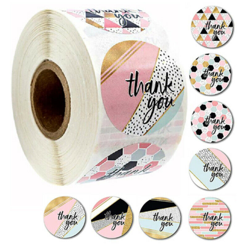 US 1 roll 500pcs 1'' Thank You Stickers Round Love Label