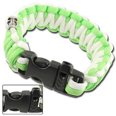 Survival Whistle Neon Green White Skullz Zombie Paracord Unisex Bracelet