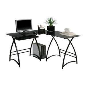 Walker Edison L-Shaped Glass Desk