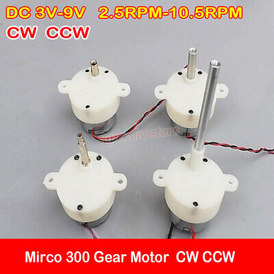 Dc 3v-9v 6v 10rpm Mirco 300 Gear Motor Gearbox Cw Ccw Small Reducer Slow Speed