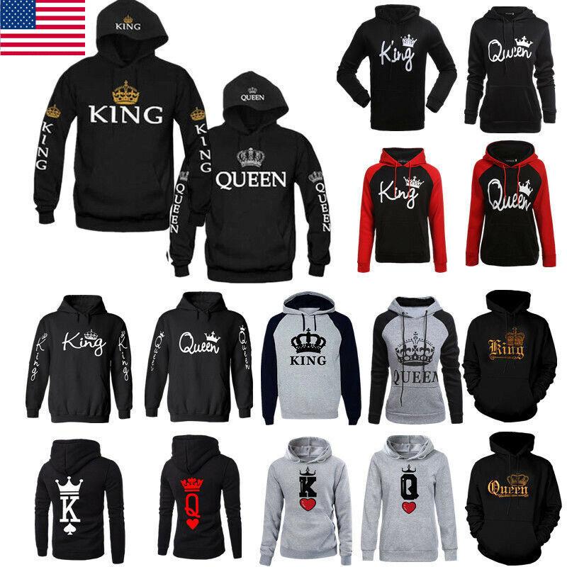 Men Women Hoodies Jumper Sweater Top King and Queen Crown Co