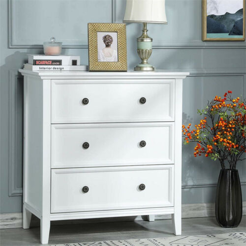 3-drawers Dresser Accent Chest Solid Wood Traditional Furniture Storage White