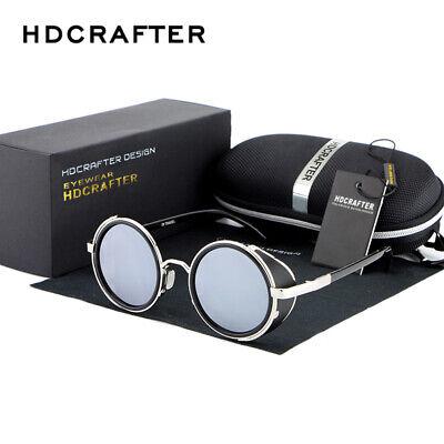 Vintage Steampunk Polarized Sunglasses Round Silver Mirrors Retro Pilot Eyewears