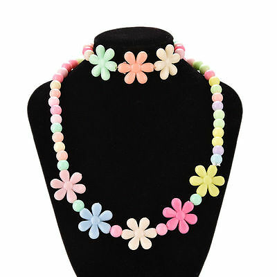 Girls Baby Toddlers Necklace&Bracelet Flower Kids Gift Party Jewelry Baby HOT