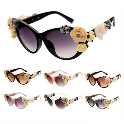 Retro Vintage Cat Eye Flower Rose Floral Decor Sunglasses Women Designer (Sunglasses Vintage Flower)