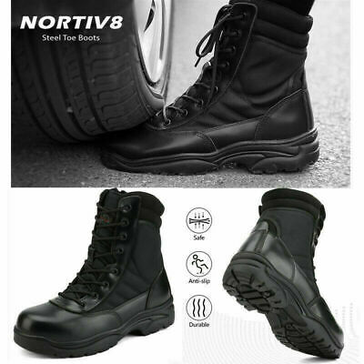 Nortiv 8 Mens Steel-toe Safety Work Boots Anti-slip Military Tactical Boots Us
