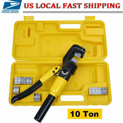 Hydraulic Wire Terminal Crimper Battery Cable Lug Crimping Tool W7 Dies -10 Ton