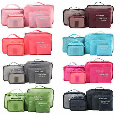 6PCS Clothes Travel Storage Bags Packing Cube Luggage Organizer Pouch