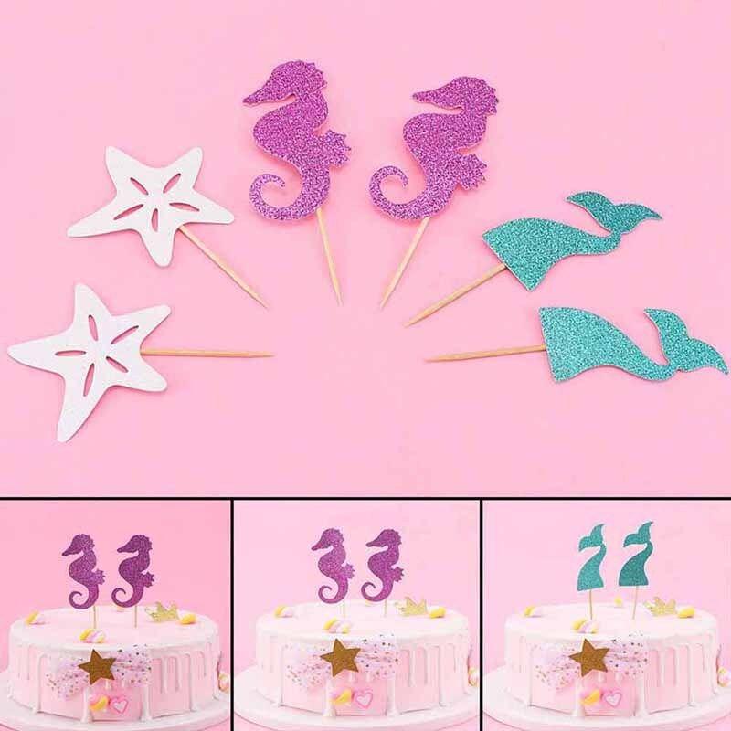 6pcs Mermaid Under the Sea Ocean Theme Cake Topper Decor Party Cupcake