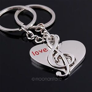 Creative-lovers-keychain-gifts-couples-key-ring-circle-music-note-heart-love