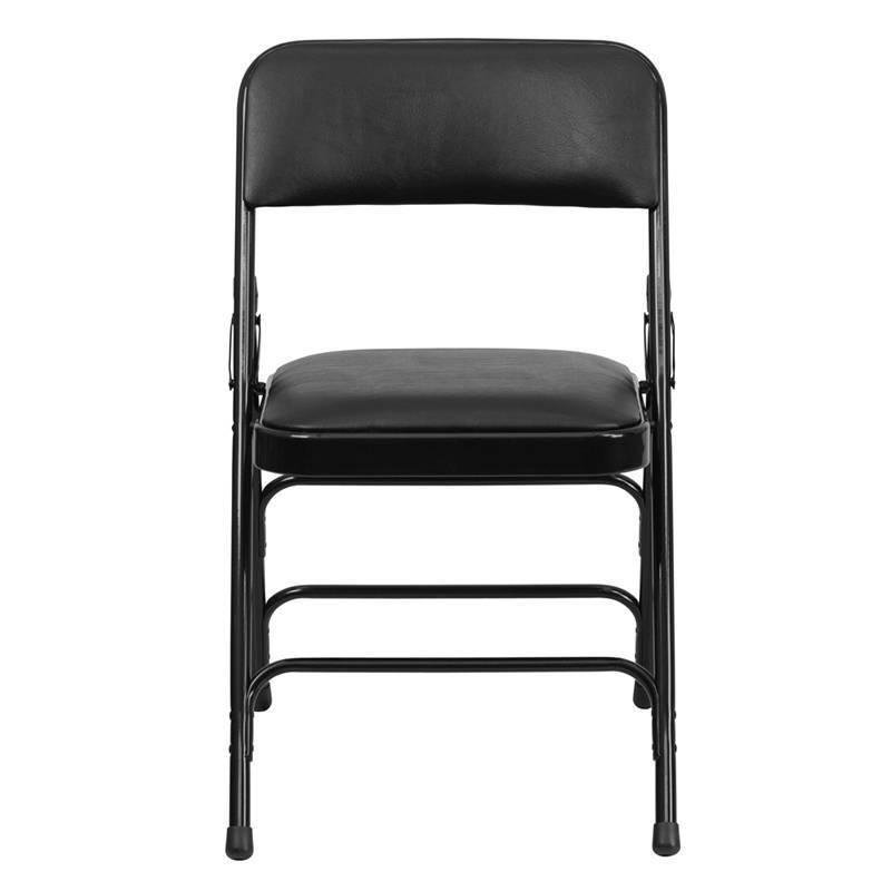 Heavy Duty Folding Chair Commercial Steel Triple Brace Metal Black Padded Seat