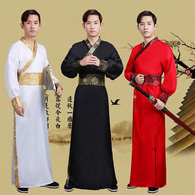 Chinese Warrior Costume (Chinese Ancient Men's Hanfu Warrior Knights Scholars Cosplay Dynasty)