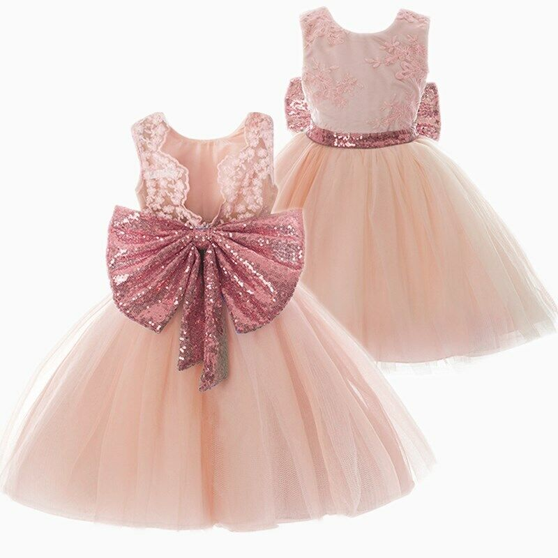 baby girl dress princess lace sequin bow