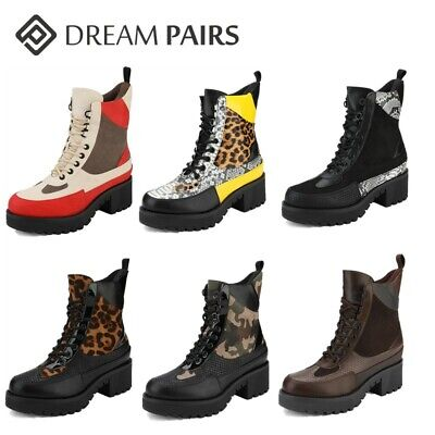 DREAM PAIRS Women Lace Up Ankle Boots Platform Chunky Heel M