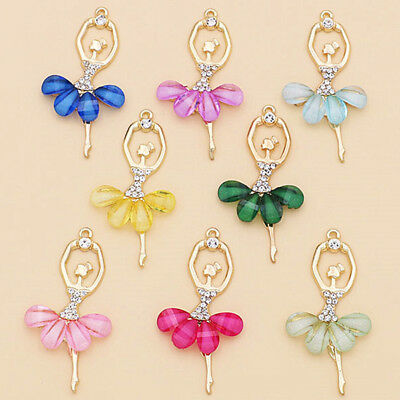 2Pcs Ballerina Ballet Dancer Dancing Girls Crystal DIY Necklace Pendant Jewelry