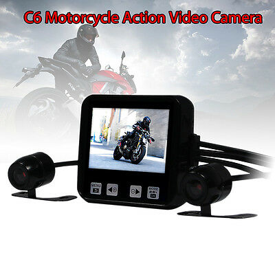 C6 Motorcycle Mounted Action Mini 720p HD Video Dual Camera Wide Angle Dash Cam