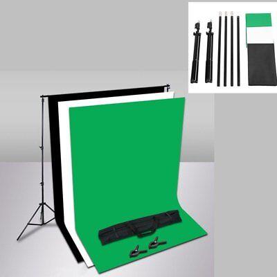 Pro 6.5x10FT Black & White&Green Backdrop Stand Kit Photo Photography Set Studio