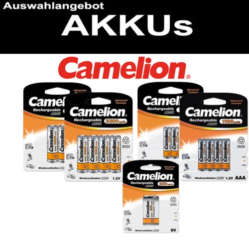 CAMELION AKKU NiMH AA R6 Mignon AAA Micro C Baby R14 D Mono R20 9V-Block