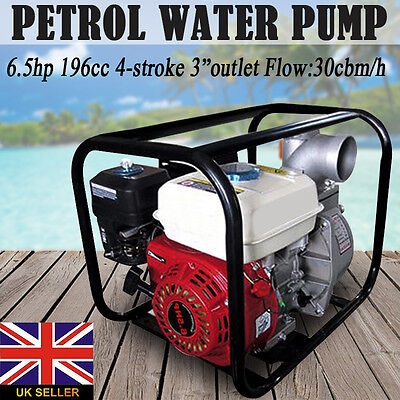 6.5HP 196cc 4-stroke Engine Powerful Petrol Home Garden Water Transfer Pump