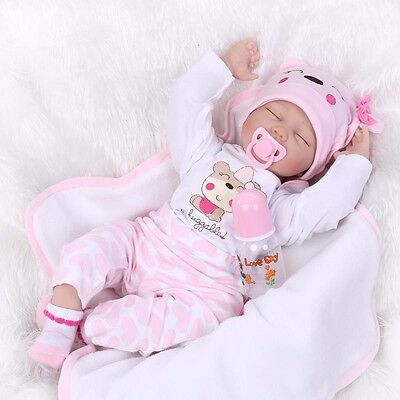 22'' Handmade Lifelike Baby Girl Doll Silicone Vinyl Reborn Newborn Toddler Doll