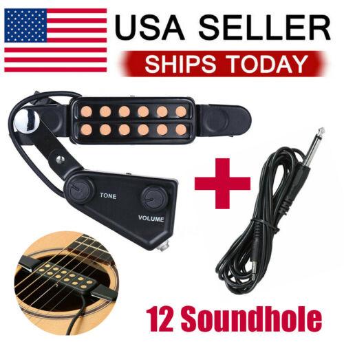 12 Hole Pickup Acoustic Guitar Soundhole Pickup Microphone Amplifier Speaker Guitar & Bass Parts