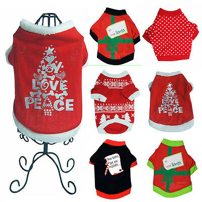 Xmas TREE WINTER PET DOG CLOTHES JUMPSUIT COAT JACKET CLOTHING PUPPY SWEATER RED
