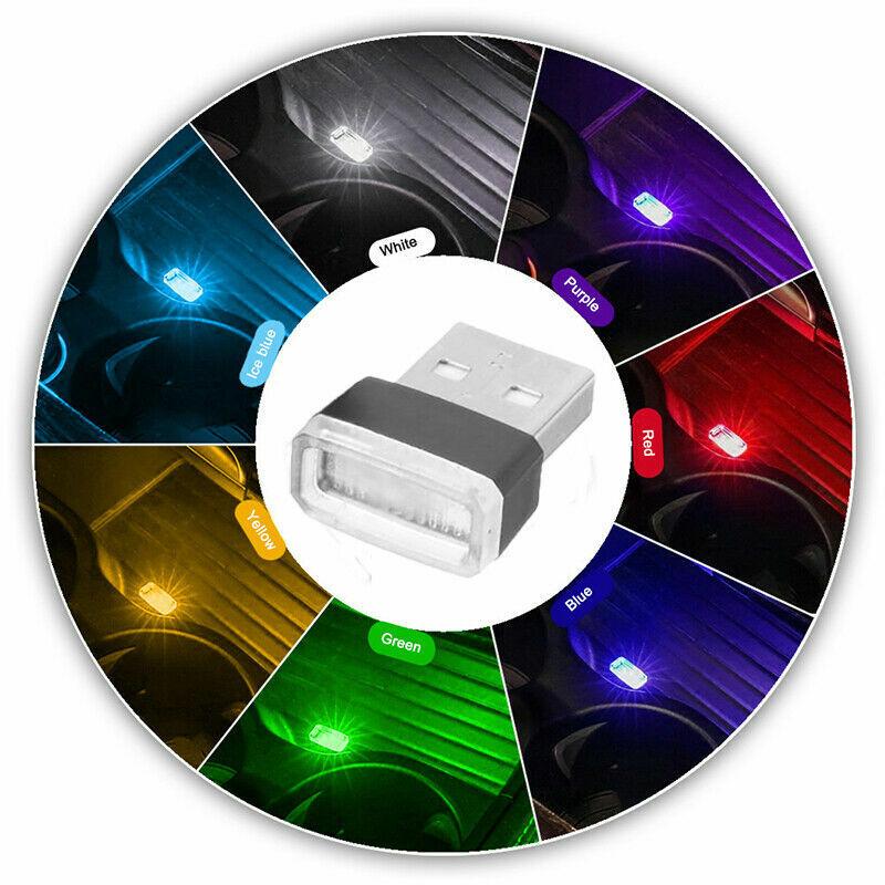 Car Parts - 4PCS Mini USB LED Light Car Interior Lamp Neon Atmosphere Ambient Bulb Parts 4X