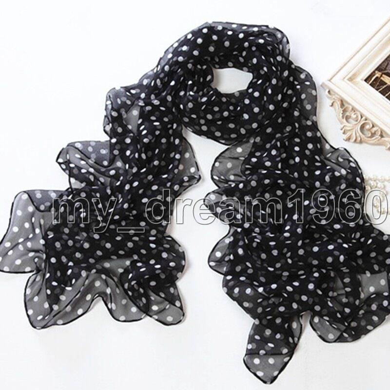 New Fashion Women/'s Black White Polka Dot Chiffon Neck Scarf Wrap Shawl Stole