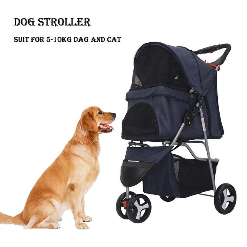 Pet Stroller Cat Dog 3 Wheel Jog Folding Lightweight Travel Breathable Carrier Dog Supplies