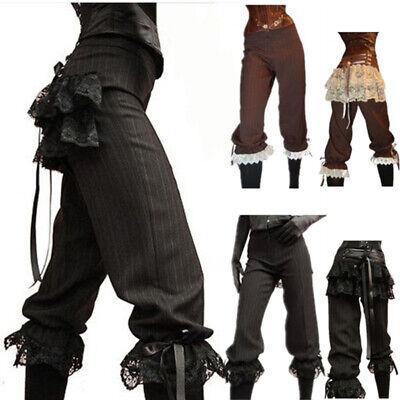Mittelalter Steampunk Frauen Gotisch Pirat Hosen Lace Wikinger Trousers