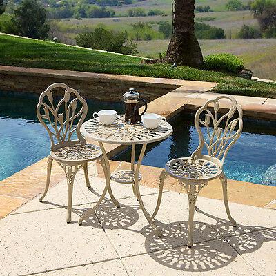Outdoor Patio Furniture 3pc Cast Aluminum Tulip ...