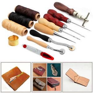 14Pcs Set Kit Leather Craft Hand Stitching Sewing Tool Thread Awl Waxed Thimble