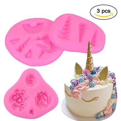 Diy Unicorn Horn (3Pcs DIY Unicorn Mold Helix Horn Rose Flower Mould Silicone Mold Assorted)