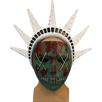 The Purge 3 Mask Halloween Fancy Dress Light Up Statue of Liberty Neon Costume