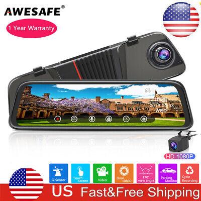 """AWESAFE 10"""" FHD 1080P Car DVR Dual Lens Rear View Mirror Dash Cam G-sensor US"""