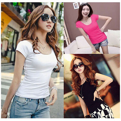 Women's  Slim Fit Cotton Crew Neck Short Sleeve Casual T-Shirt Tops Solid color