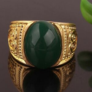 Mens 14K Gold Filled Emerald Ring, size 11 - New